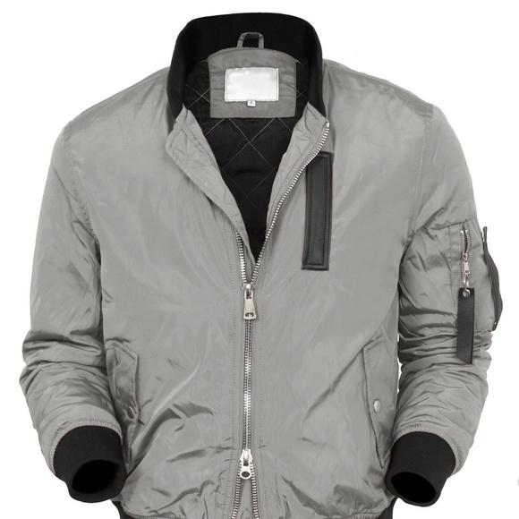 b72bf2a08 Mens Gray Quality Bomber Jacket w/Zipper Pockets Boutique